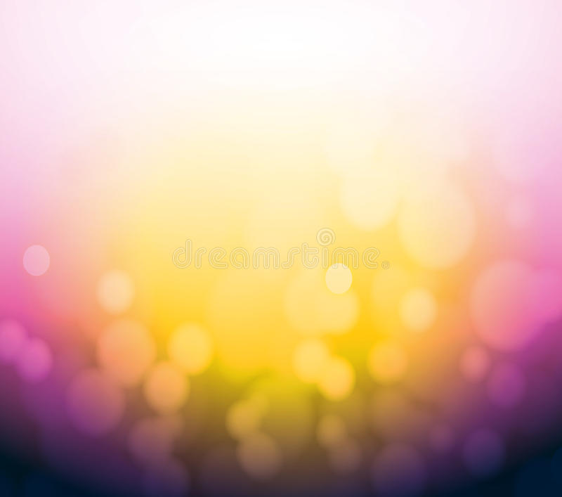 Фиолетовая и желтая предпосылка света конспекта bokeh. иллюстрация вектора