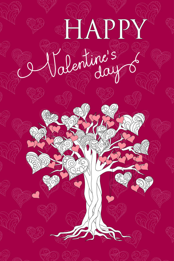 Фиолетовая карточка валентинки с деревом сердец иллюстрация штока