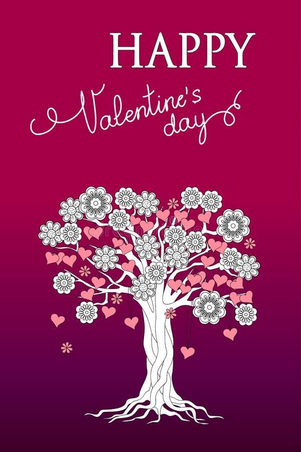 Фиолетовая карточка валентинки с деревом цветков и сердец иллюстрация вектора