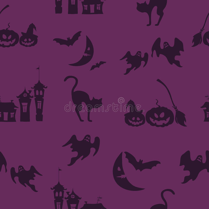 Фиолетовая предпосылка вектора хеллоуина с призраками, домами doodle, тыквами иллюстрация штока