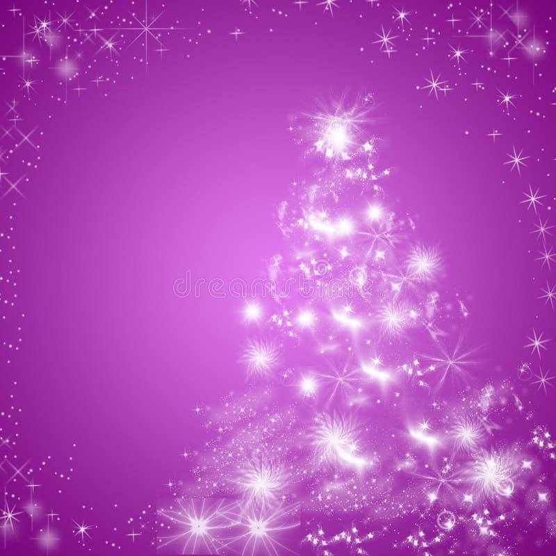 Фиолетовая предпосылка поздравительной открытки зимних отдыхов с рождественской елкой иллюстрация вектора