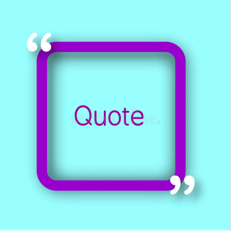 Фиолетовая рамка квадратной бумаги с запятыми для вашего текста Закавычьте пузырь в реалистическом стиле на яркой голубой предпос бесплатная иллюстрация