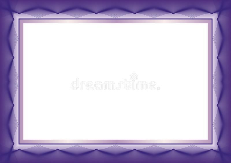 Фиолетовая рамка шаблона сертификата или диплома - граница иллюстрация штока