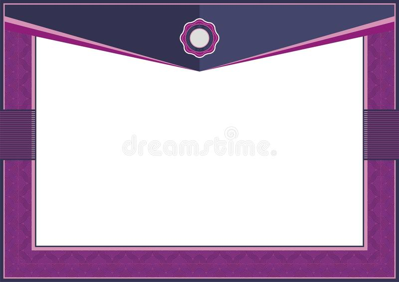 Фиолетовая рамка шаблона сертификата или диплома - граница иллюстрация вектора