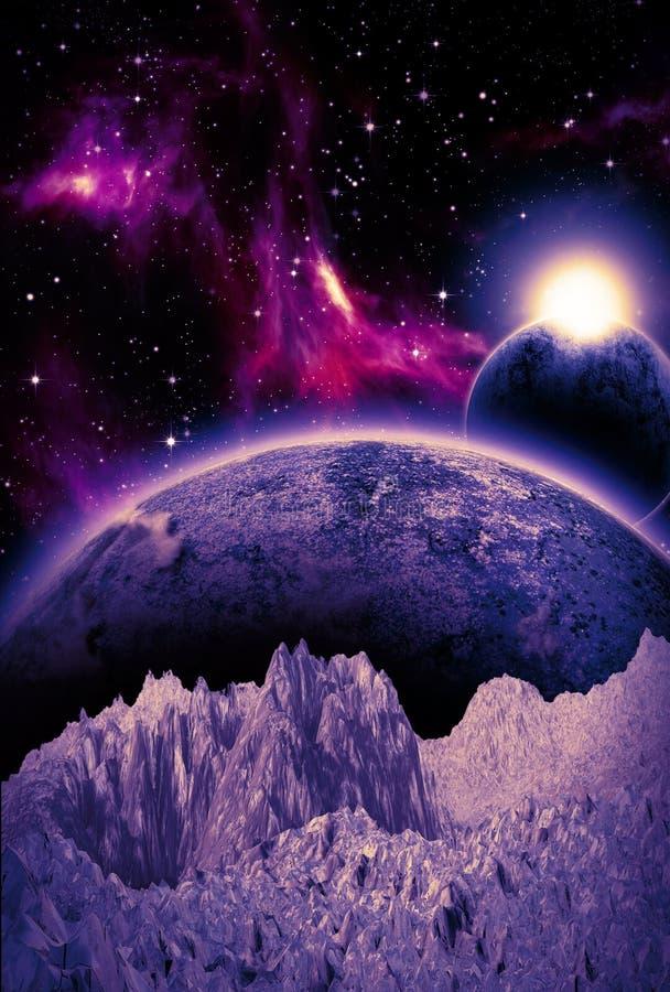 Фиолетовая сцена научной фантастики фантазии бесплатная иллюстрация