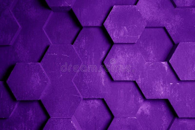 Фиолетовая текстура предпосылки шестиугольника иллюстрация вектора