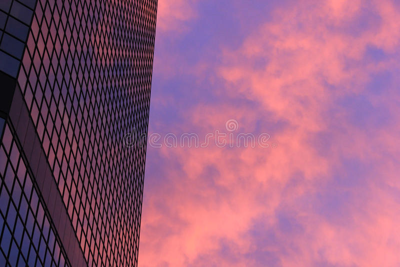 Фиолетовое отражение Skyscaper стоковые фотографии rf