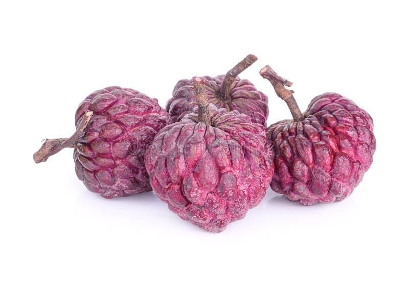 Фиолетовое яблоко заварного крема изолированное на белизне стоковая фотография