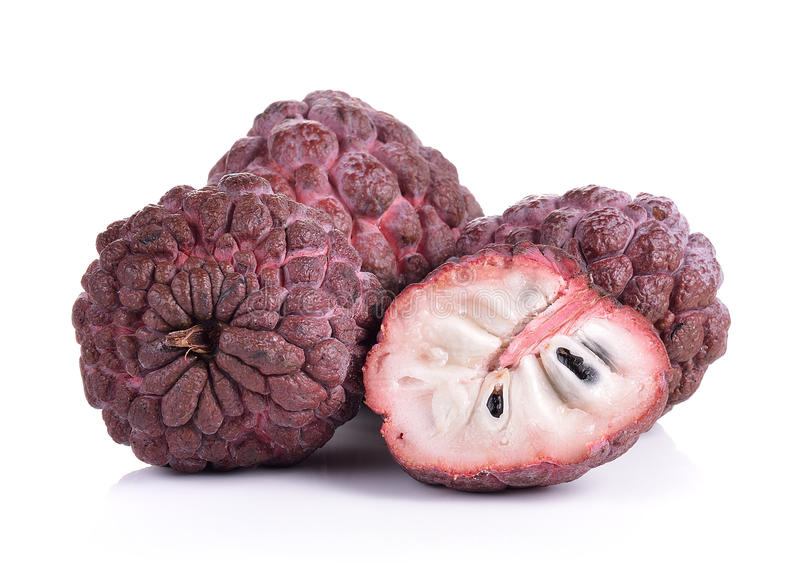 Фиолетовое яблоко заварного крема на белой предпосылке стоковые фотографии rf