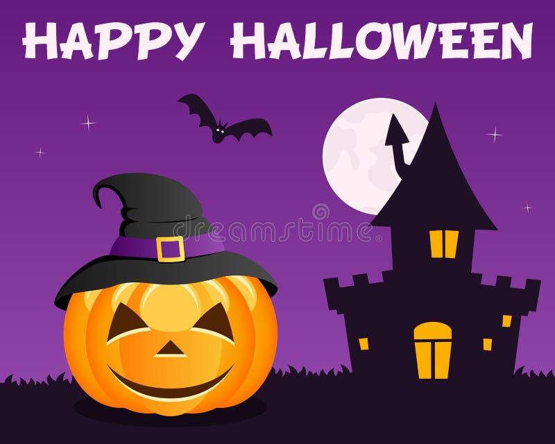 Фиолетовой дом хеллоуина преследовать тыквой иллюстрация штока