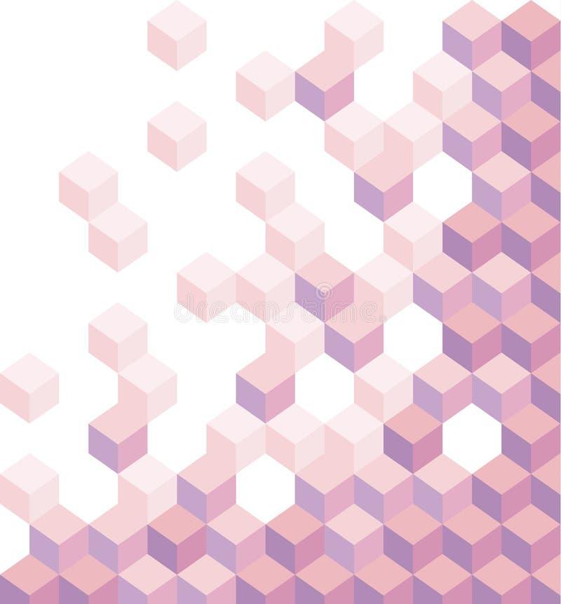 Фиолетовые кубы Геометрическая предпосылка, обои Шестиугольная иллюстрация 3d абстрактный вектор предпосылки иллюстрация штока