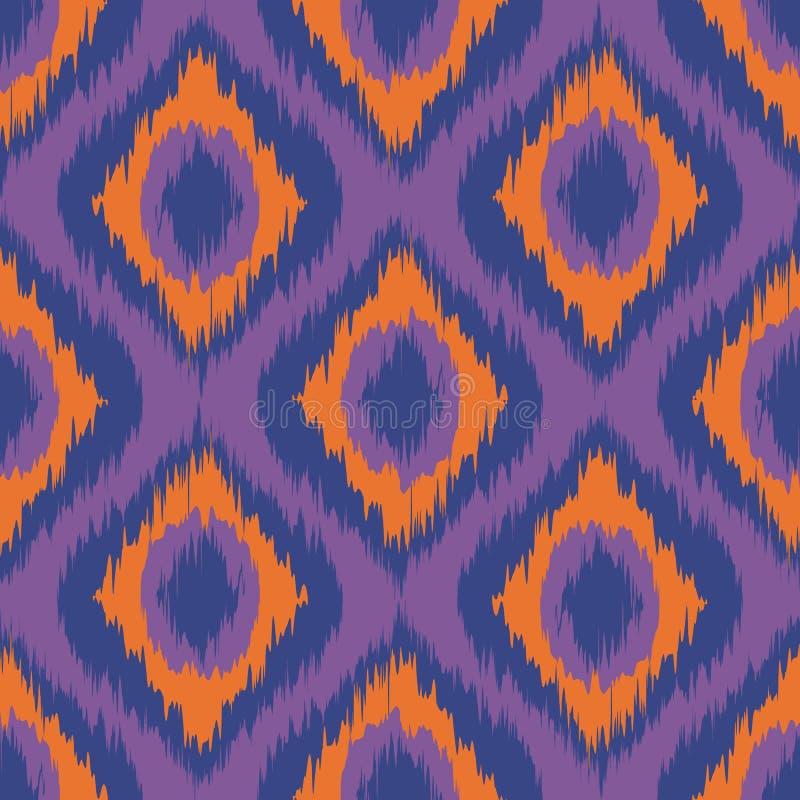 Фиолетовые нашивки ikat безшовный апельсин предпосылки лилово голубой вектор иллюстрация штока