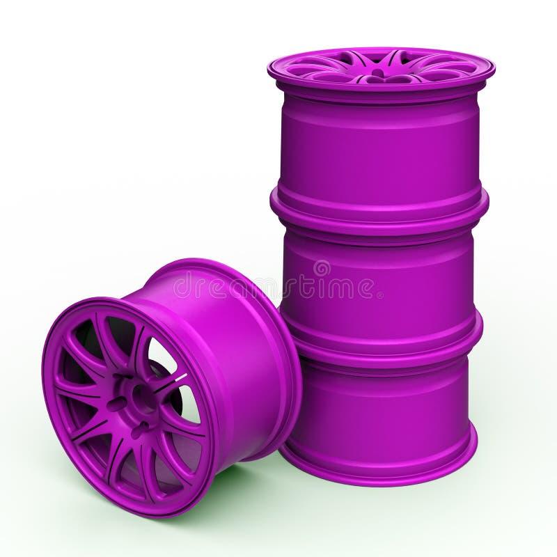 Фиолетовые стальные диски для иллюстрации автомобиля 3D стоковые фотографии rf