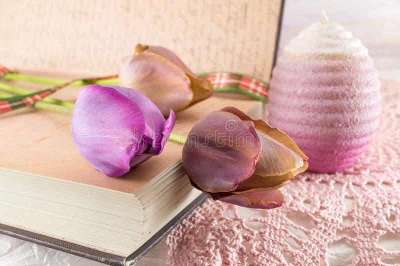 Фиолетовые тюльпаны и книга стоковые фотографии rf
