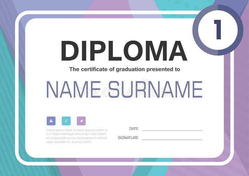 Фиолетовый дизайн плана шаблона предпосылки сертификата диплома черноты A4 голубого зеленого цвета иллюстрация штока