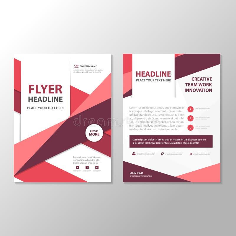 Фиолетовый дизайн шаблона годового отчета листовки рогульки брошюры конспекта треугольника, дизайн плана обложки книги иллюстрация штока