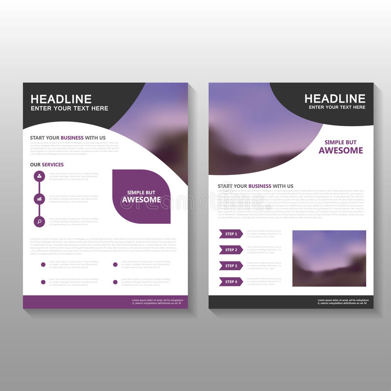 Фиолетовый дизайн шаблона предложения дела рогульки брошюры листовки вектора кривой, дизайн плана обложки книги, абстрактный фиол иллюстрация штока