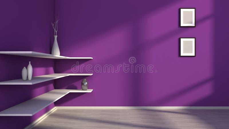 Фиолетовый интерьер с белыми полкой и вазами иллюстрация штока