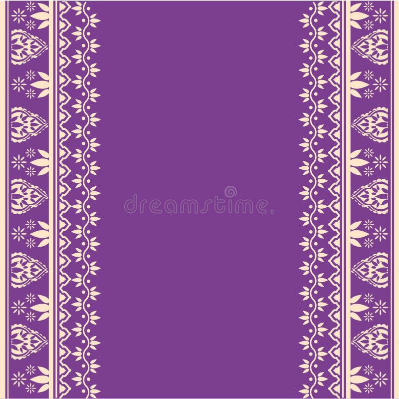 Фиолетовый индийский дизайн границы хны иллюстрация штока