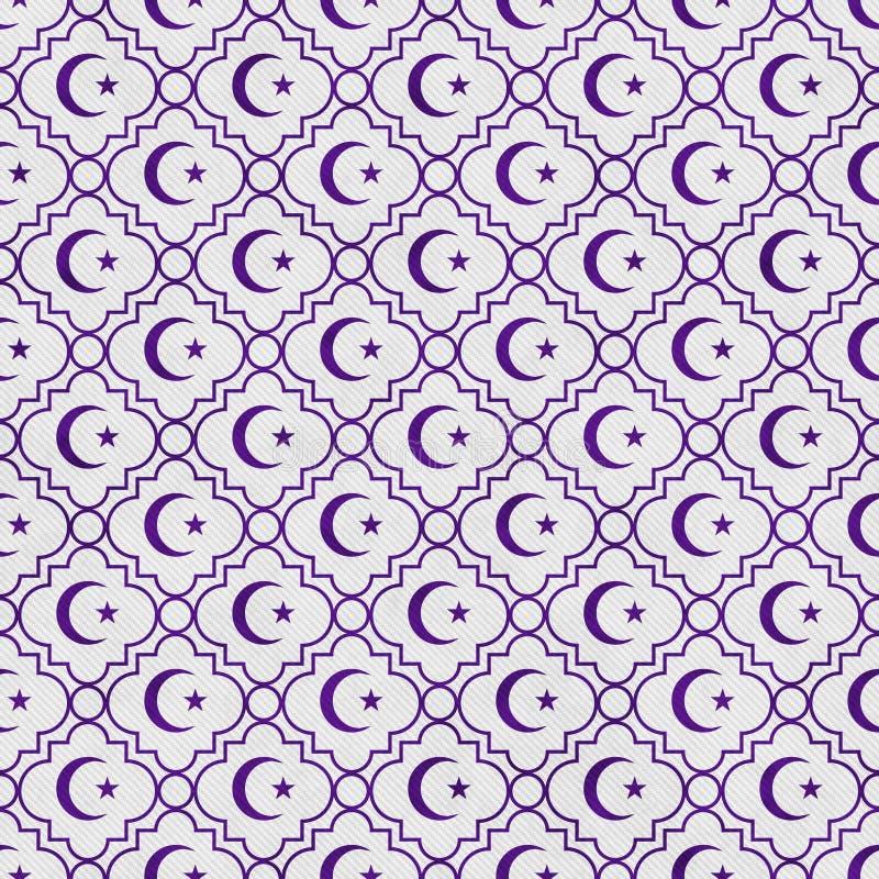 Фиолетовый и белый ба повторения картины звезды и плитки символа полумесяца иллюстрация штока