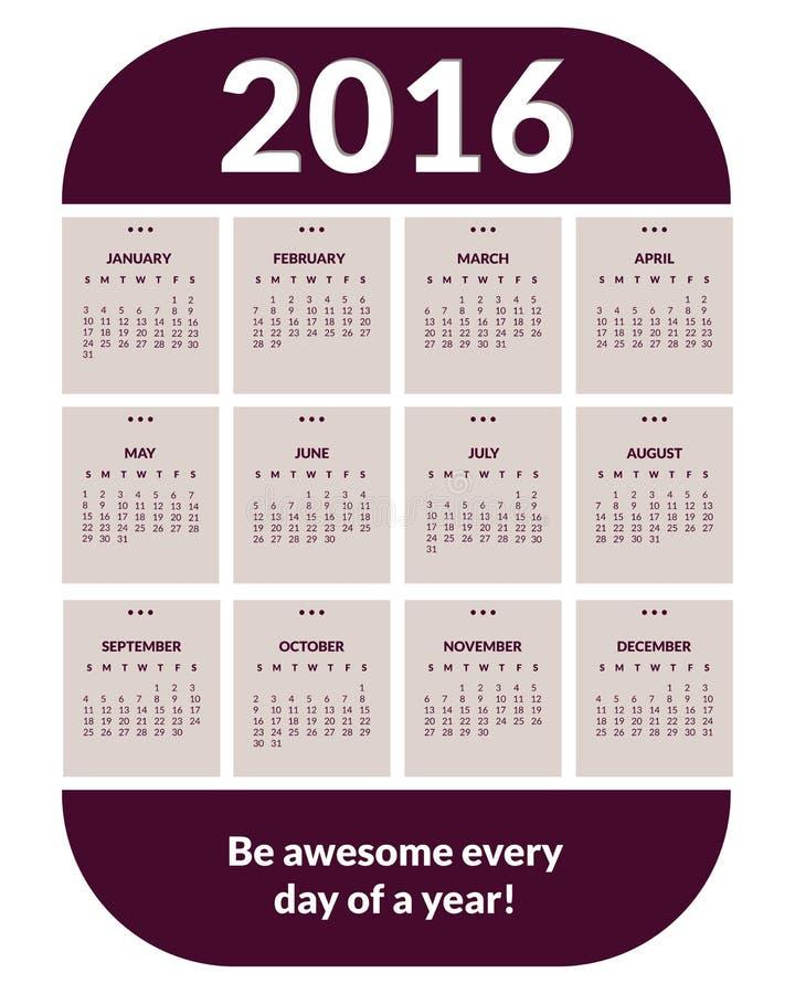 Фиолетовый календарь 2016 иллюстрация штока