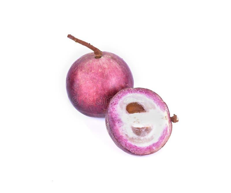 Фиолетовый плодоовощ яблока звезды с половиной изолированный на белой предпосылке стоковое изображение rf