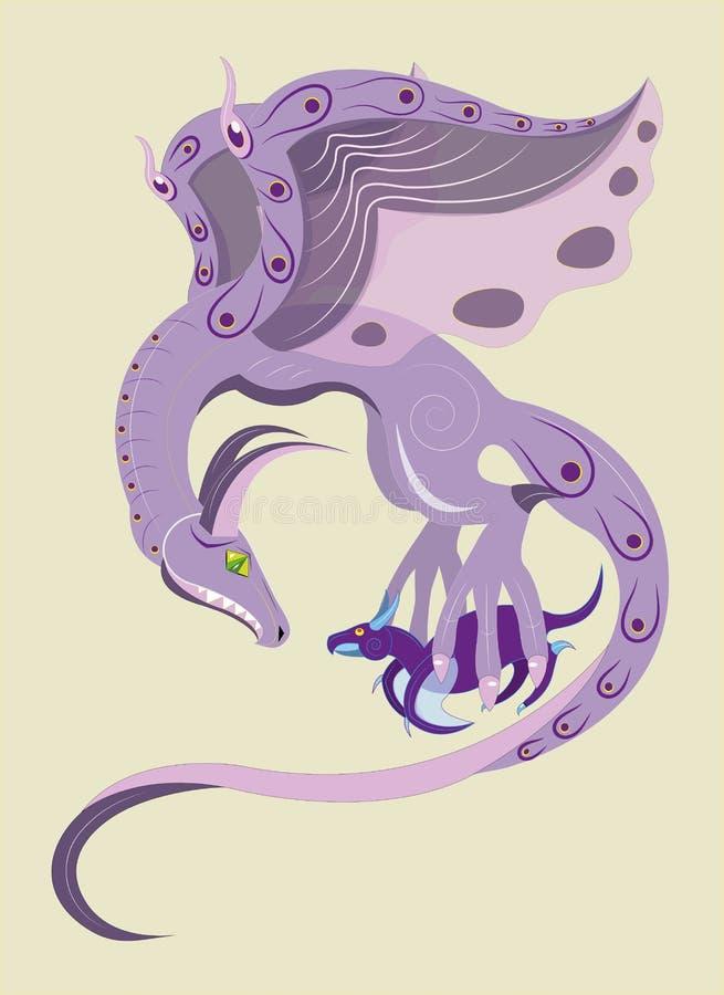 Фиолетовый дракон и оно новичок. бесплатная иллюстрация