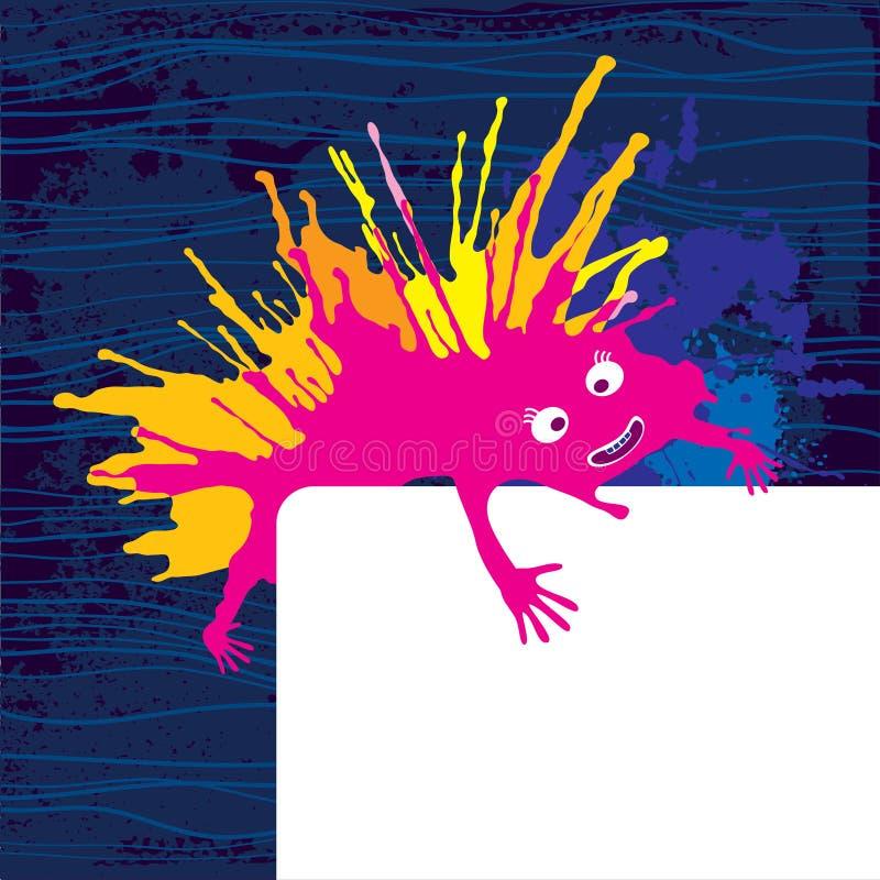 Фиолетовый смешной изверг с карточкой иллюстрация вектора