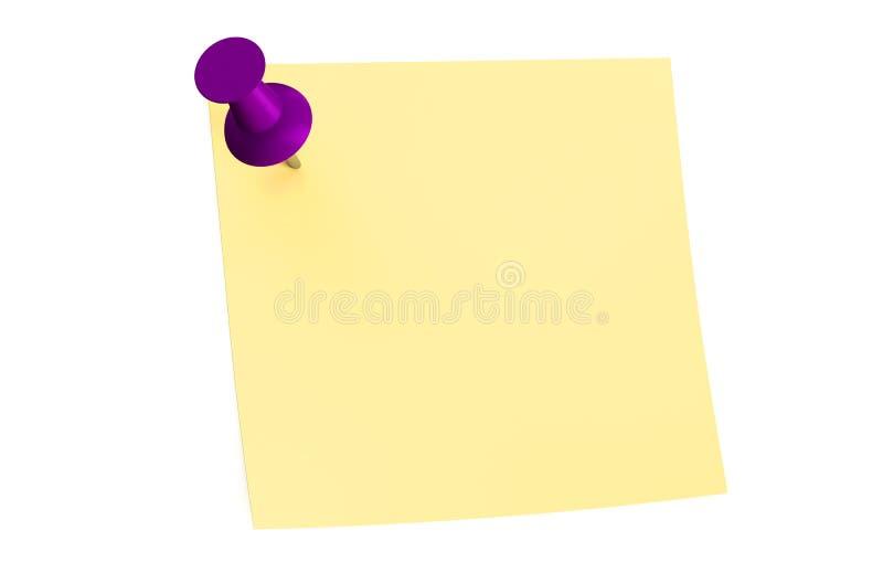 Фиолетовый штырь нажима с пустым липким примечанием бесплатная иллюстрация
