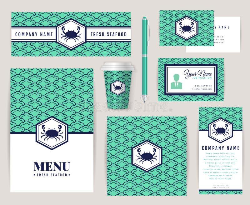 Фирменный стиль для ресторана морепродуктов бесплатная иллюстрация