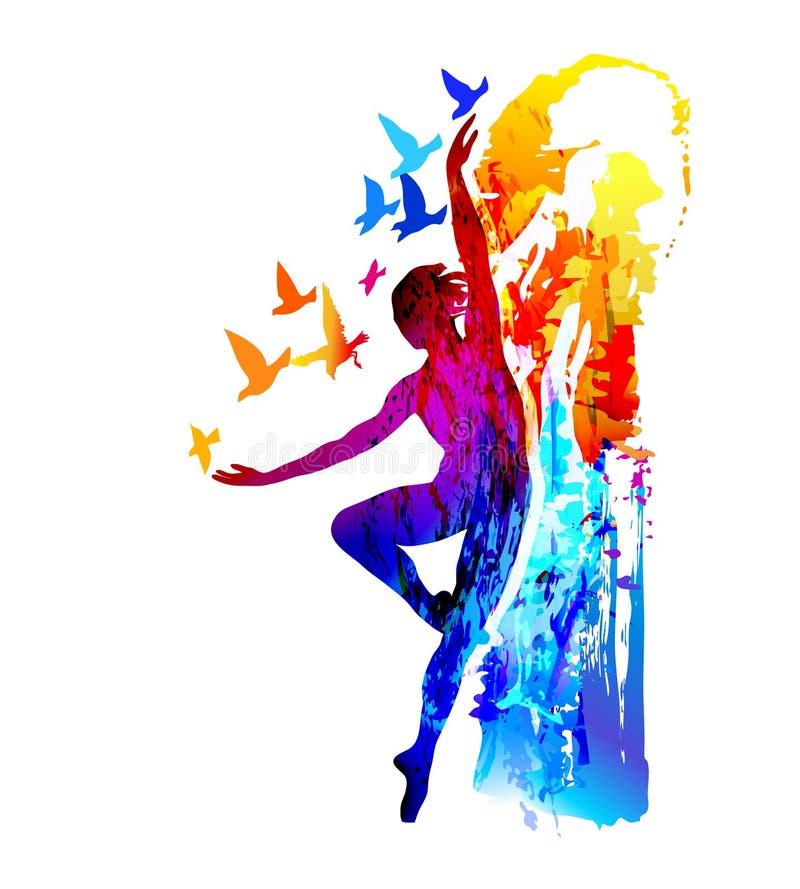 Фитнес артиста балета, аэробика гимнастика звукомерная также вектор иллюстрации притяжки corel иллюстрация вектора
