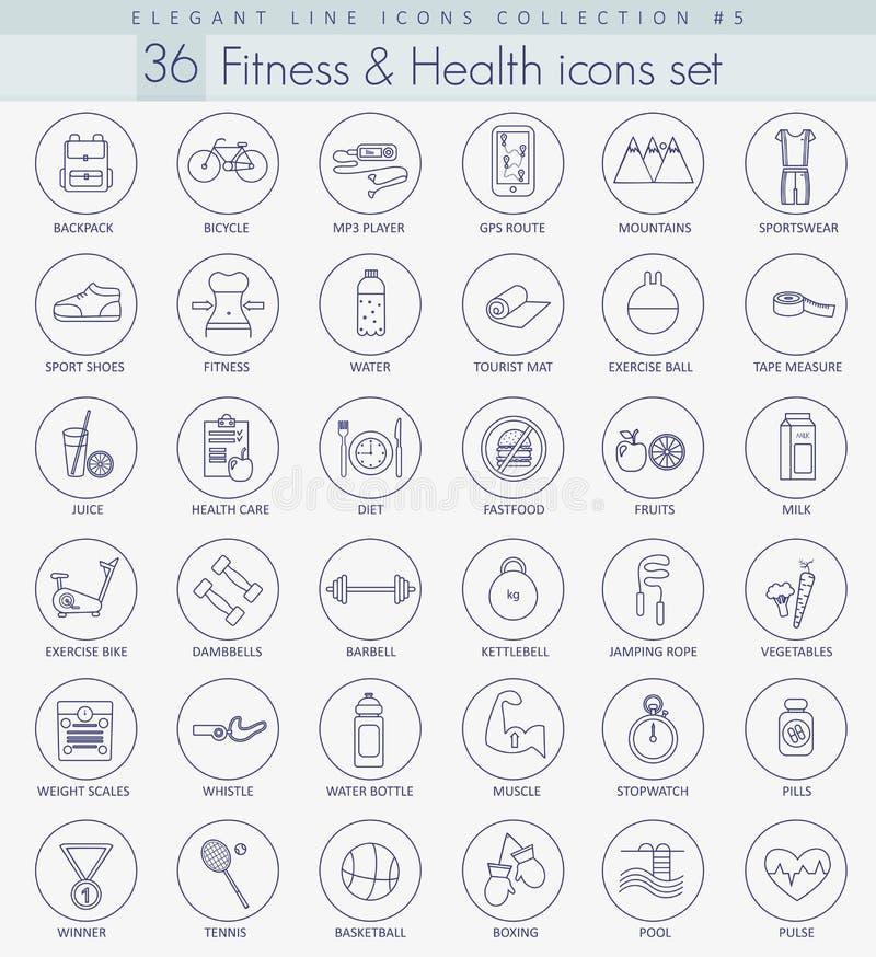 Фитнес вектора и комплект значка плана здоровья Элегантная тонкая линия дизайн стиля бесплатная иллюстрация