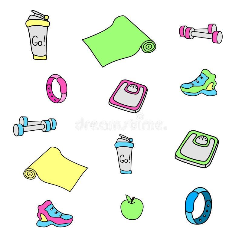 Фитнес вектора и комплект оборудования doodles спортзала иллюстрация вектора