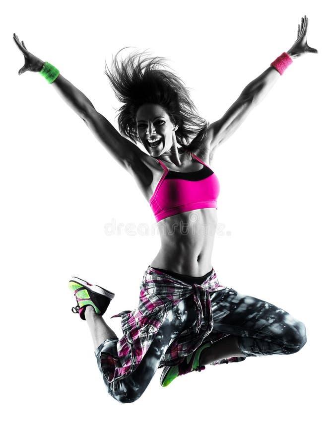 Фитнес женщины cardio работает силуэт танцора изолированный танцами стоковое фото