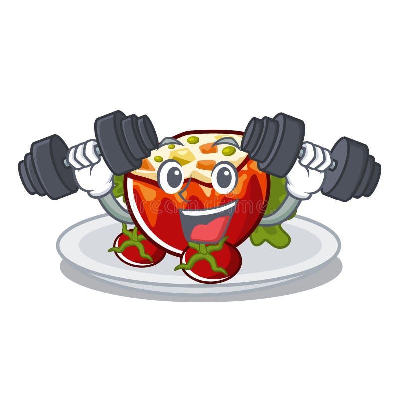 Фитнес заполнил томаты положенные на плиты характера иллюстрация вектора
