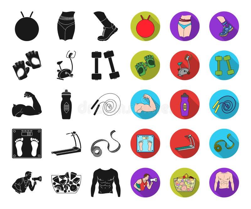 Фитнес и атрибуты чернят, плоские значки в установленном собрании для дизайна Сеть запаса символа вектора оборудования фитнеса иллюстрация штока