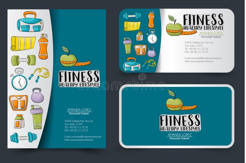 Фитнес и здоровый комплект дизайна фирменного стиля образа жизни Рогулька и визитные карточки иллюстрация штока