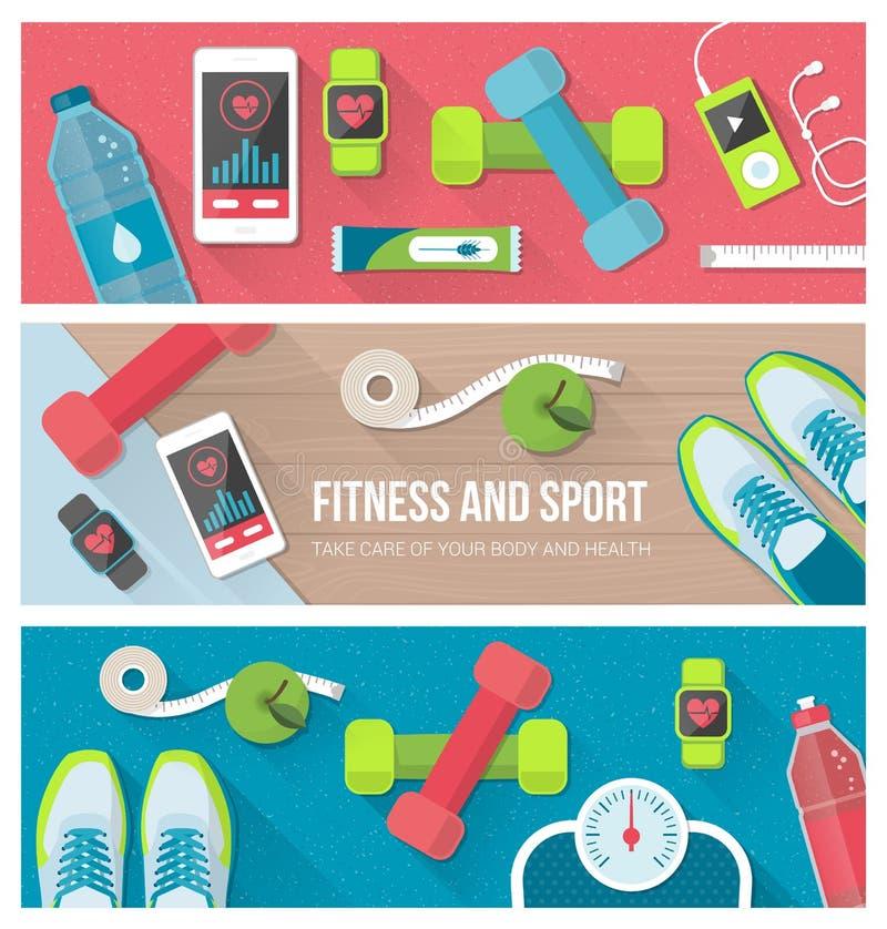 Фитнес и спорт иллюстрация вектора
