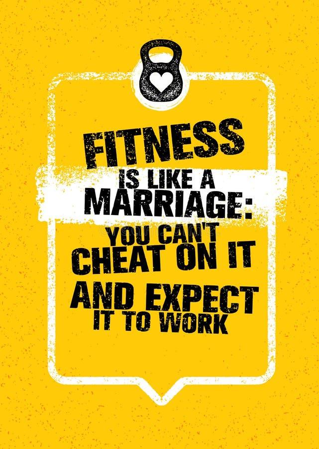 Фитнес как замужество: Вы можете плутовка ` t на ем и ожидать его для работы Цитата мотивировки разминки оформления спортзала спо бесплатная иллюстрация