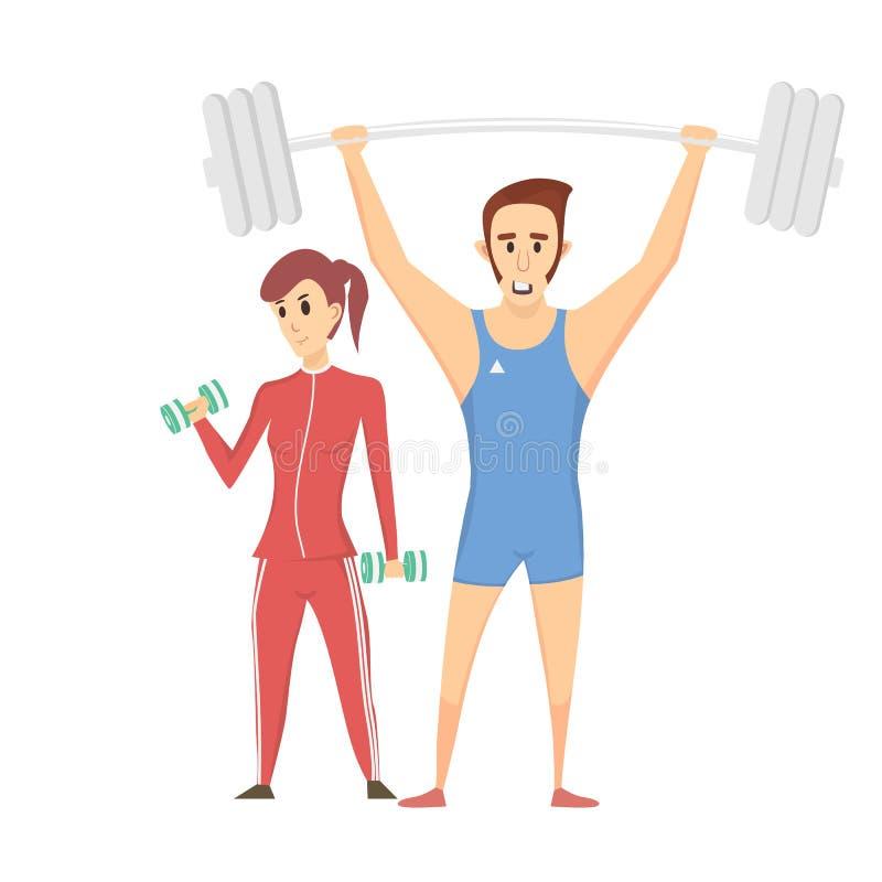 Фитнес-клуб ярлыка с изображением женщин и людей стоковые изображения