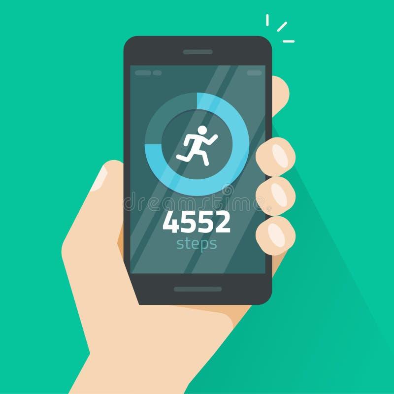 Фитнес отслеживая app на иллюстрации вектора экрана мобильного телефона, smartphone с, который побежали отслежывателем, счетчиком иллюстрация штока