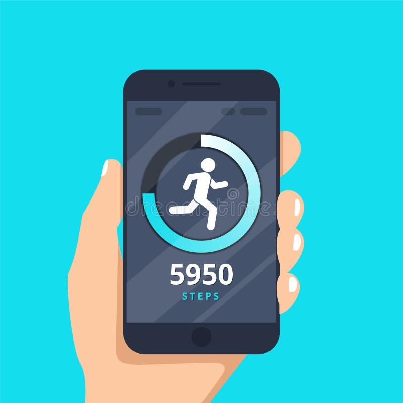 Фитнес отслеживая app на стиле шаржа иллюстрации вектора экрана мобильного телефона плоском, smartphone с, который побежали отсле бесплатная иллюстрация