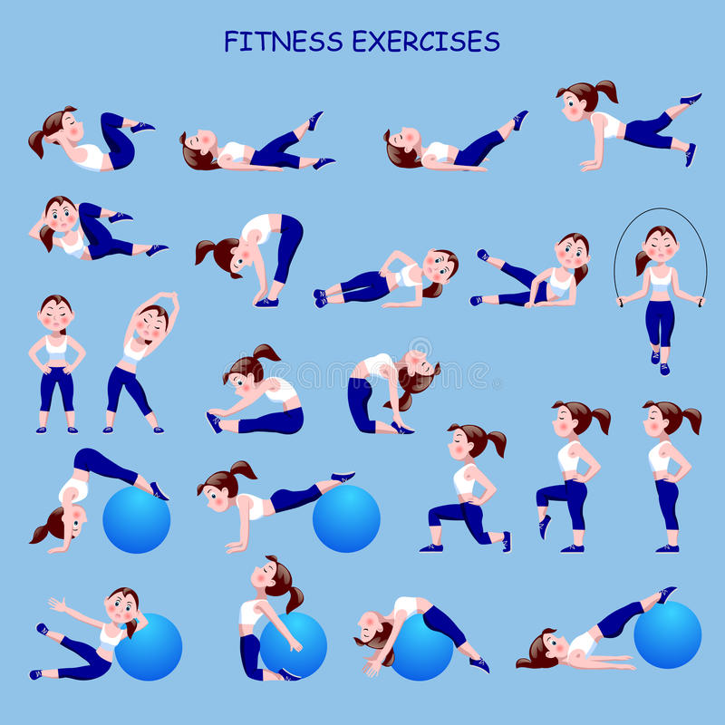 Фитнес работает с девушкой шаржа в голубом и белом костюме иллюстрация штока