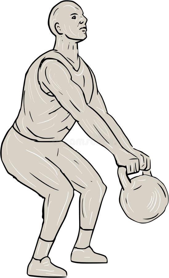 Фитнес спортсмена сидя на корточках чертеж Kettlebell иллюстрация штока