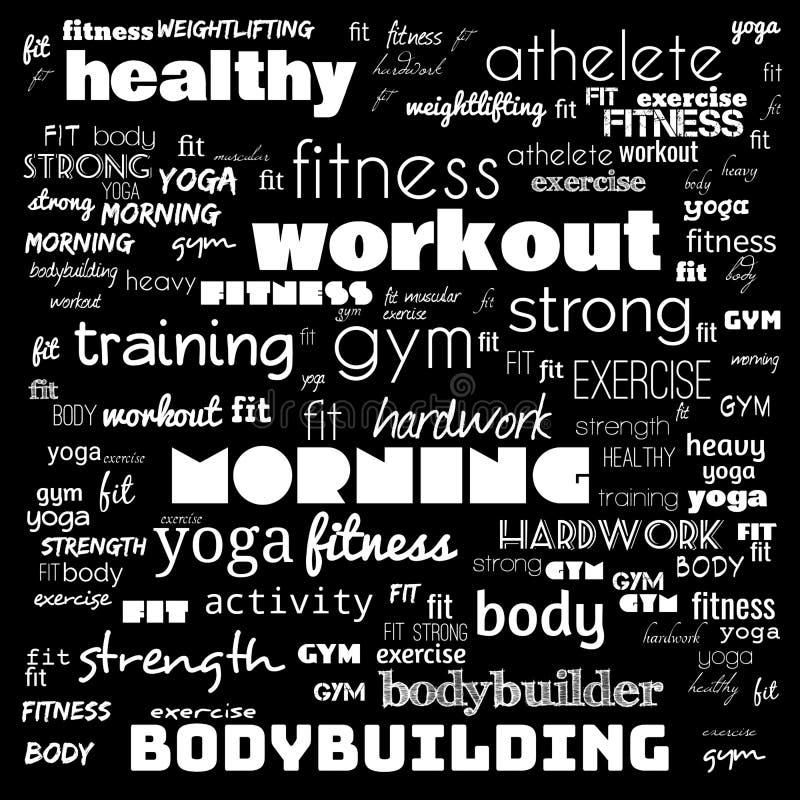 Фитнес, спорт, спортзал, облако концепции здоровья образа жизни, слова и значка, дизайн футболки, творческий дизайн плаката, моти иллюстрация вектора