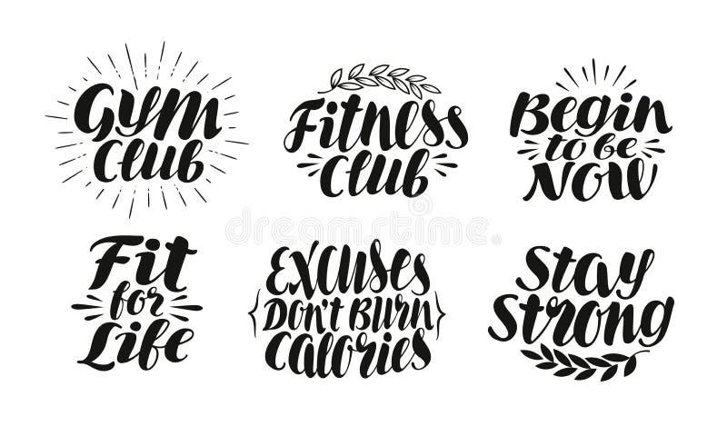 Фитнес, спорт, ярлык спортзала, идентичность Концепция мотивировки, символ Литерность, иллюстрация вектора каллиграфии иллюстрация штока
