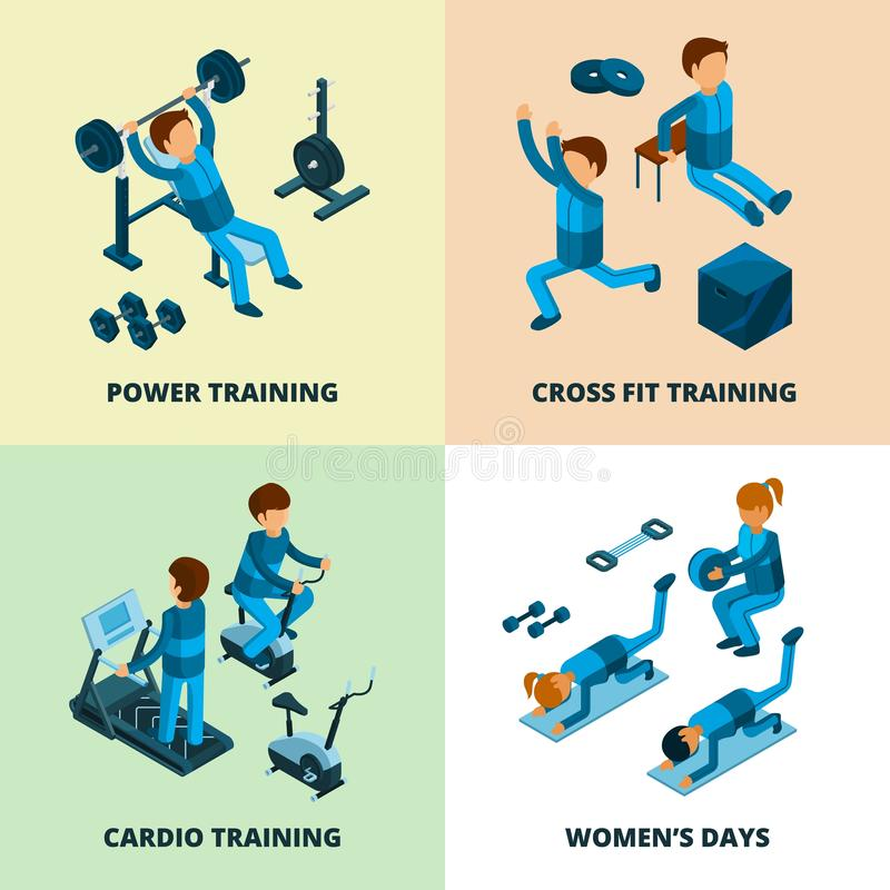 Фитнес-центр равновеликий Резвитесь люди спортсмена делая силу и cardio тренировку аэробными в изображениях вектора спортзала иллюстрация штока