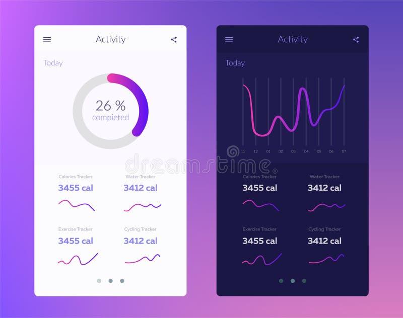 Фитнес app Идея проекта UI с элементами сети применения разминки для приборов черни и таблетки иллюстрация штока