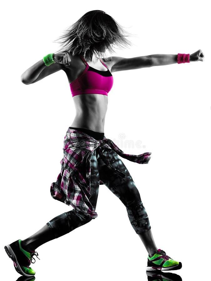 Фитнес zumba женщины работает силуэт танцора изолированный танцами стоковая фотография rf