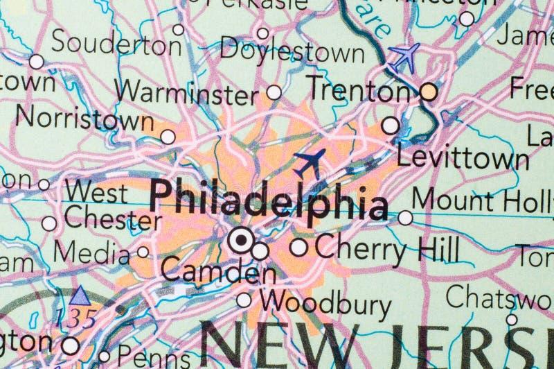Филадельфия, на карте стоковые изображения rf